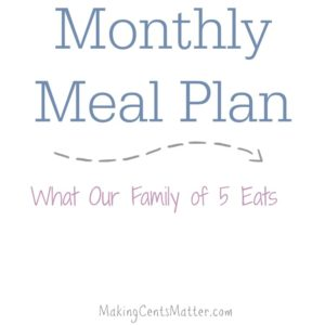 Monthly Meal Plan: December 2015