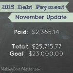 November 2015 Debt Free Progress