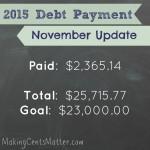 November 2015 Debt Free Progress