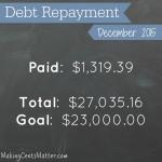 Debt Free Progress: December 2015