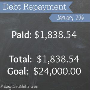 Debt Free Progress: January 2016