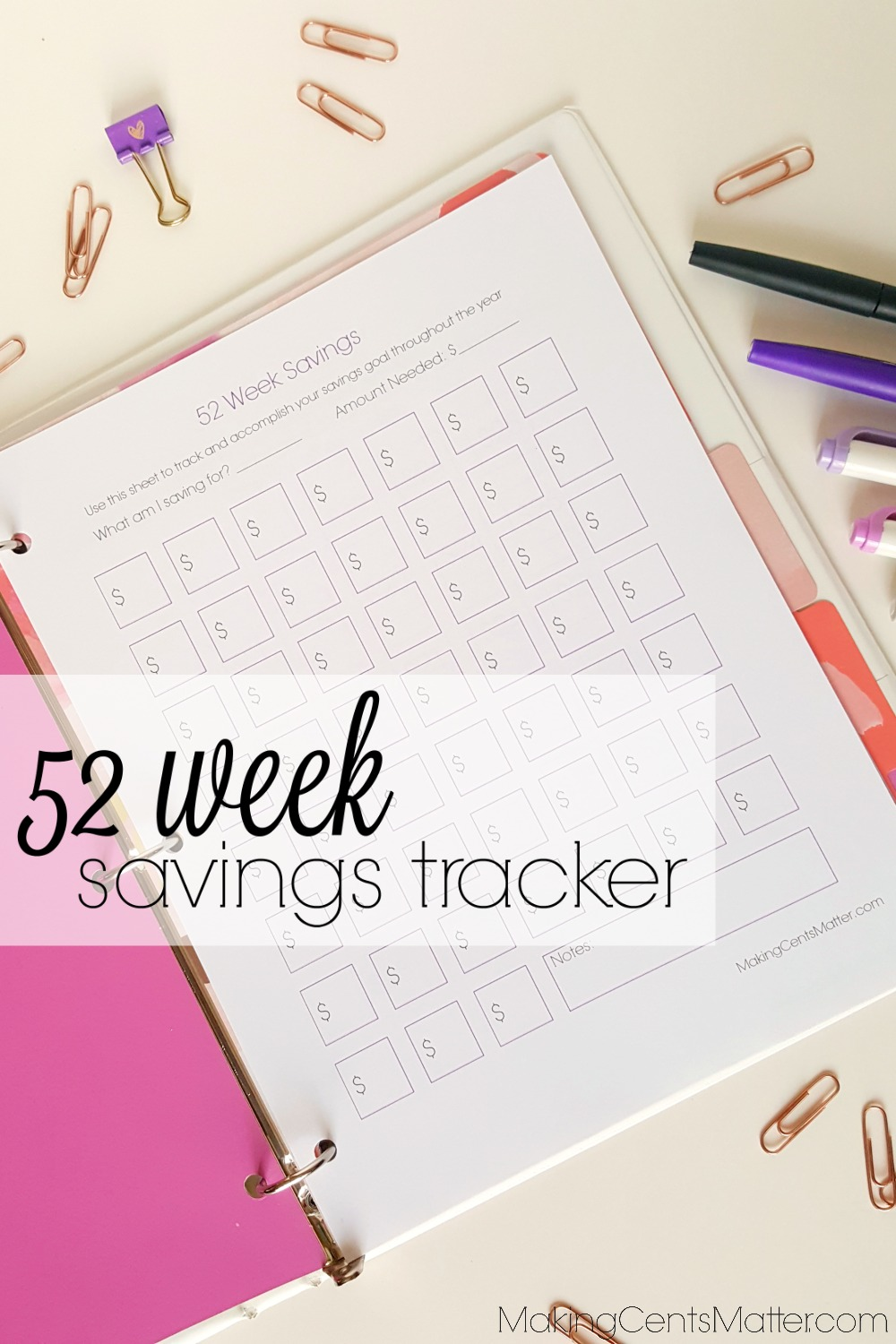 52 Week Savings Tracker