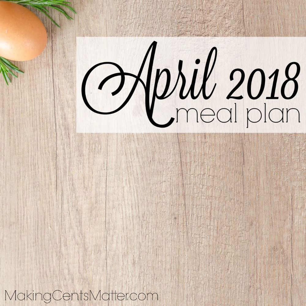 April 2018 Meal Plan