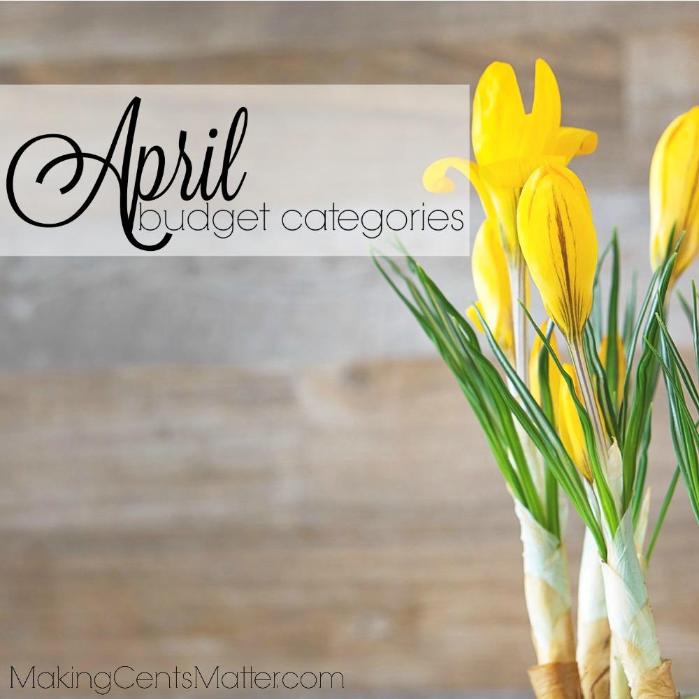 April Budget Categories