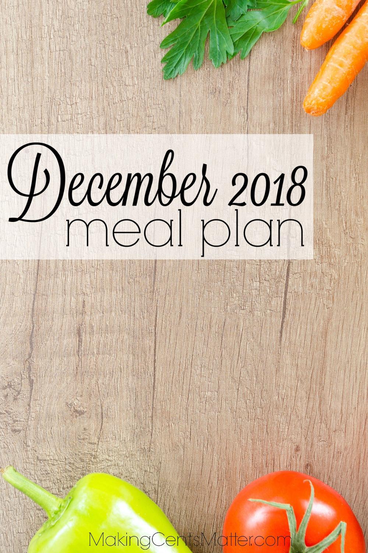 December 2018 Meal Plan