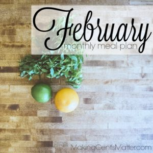 February 2017 Meal Plan