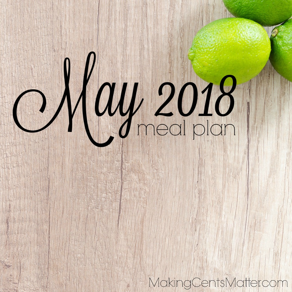 May 2018 Meal Plan