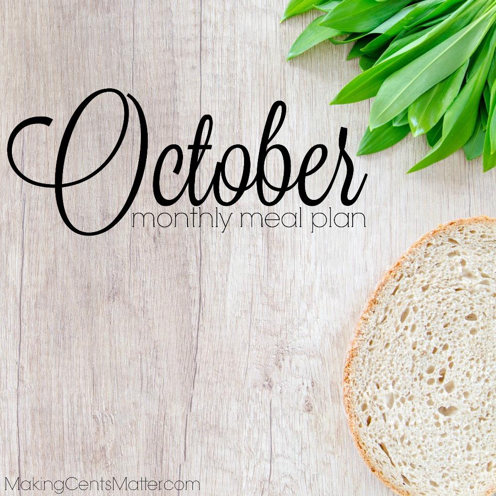 October 2017 Meal Plan