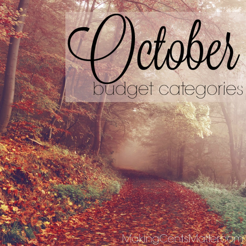October Budget Categories