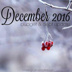 December 2016 budget debt update