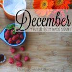 December 2016 Meal Plan