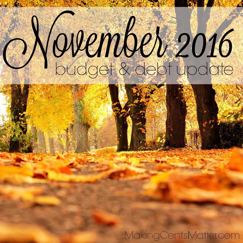 November 2016 Budget Debt Update