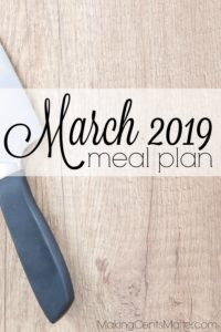 March 2019 Meal Plan