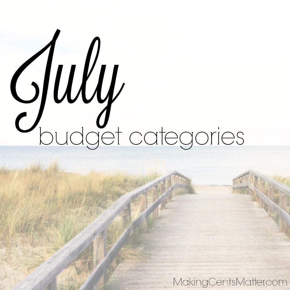 July Budget Categories