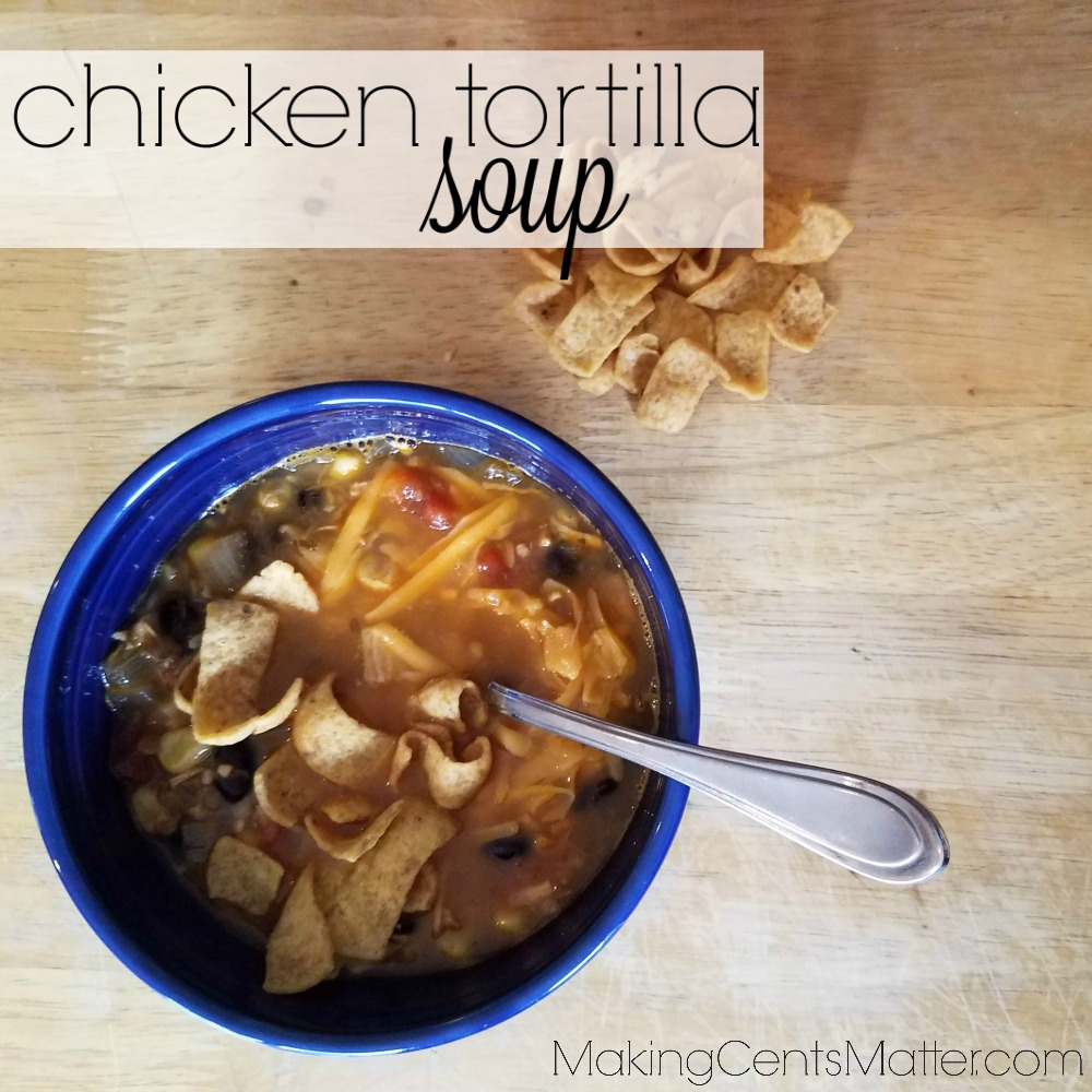 This homemade chicken tortilla soup recipe is super easy to make on the stove top. Using pantry ingredients and leftover roast chicken, you can have dinner on the table in 30 minutes!