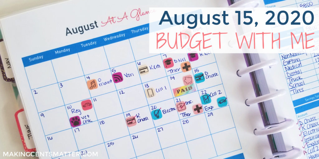 August 2020 Budget With Me
