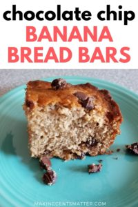 Chocolate Chip Banana Bread Bars