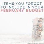 February Budget Categories