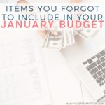 January Budget Categories