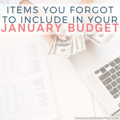 January Budget Categories