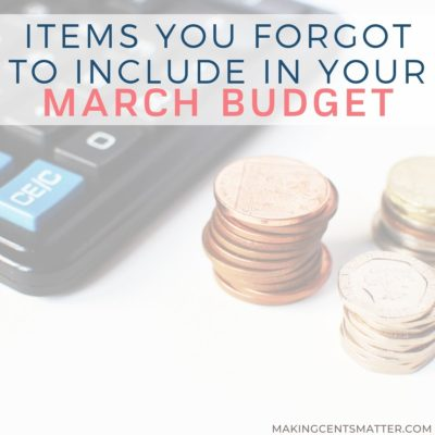 March Budget Categories